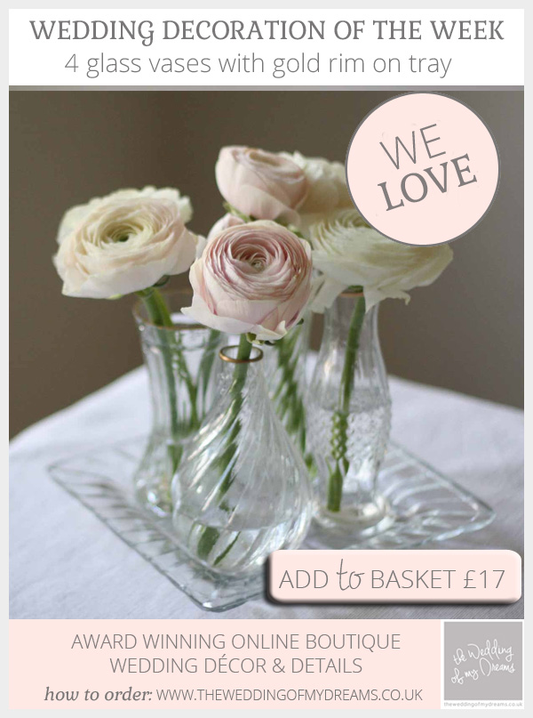 Clear glass vases with gold rim wedding centrepiece grouping available from @theweddingomd