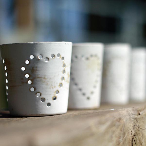 Country style tea light holders with little hearts available from @theweddingomd