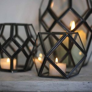 Geometric terrariums with candles for weddings available from @theweddingomd