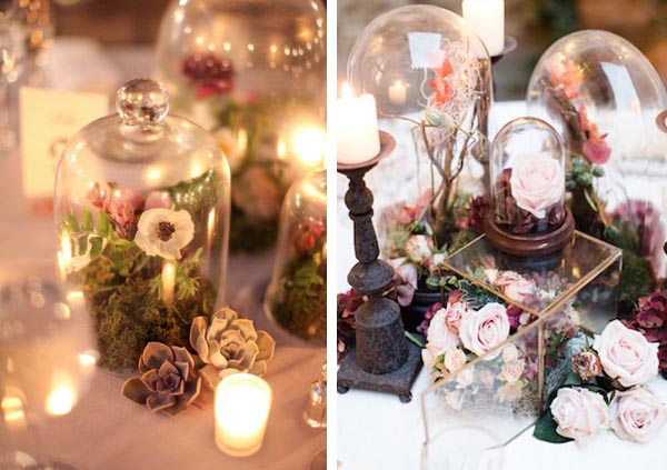 Love the idea of using bell jars for wedding centrepieces
