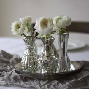 Mercury Silver Wedding Centrepiece Tray with 6 Vases available from @theweddingomd