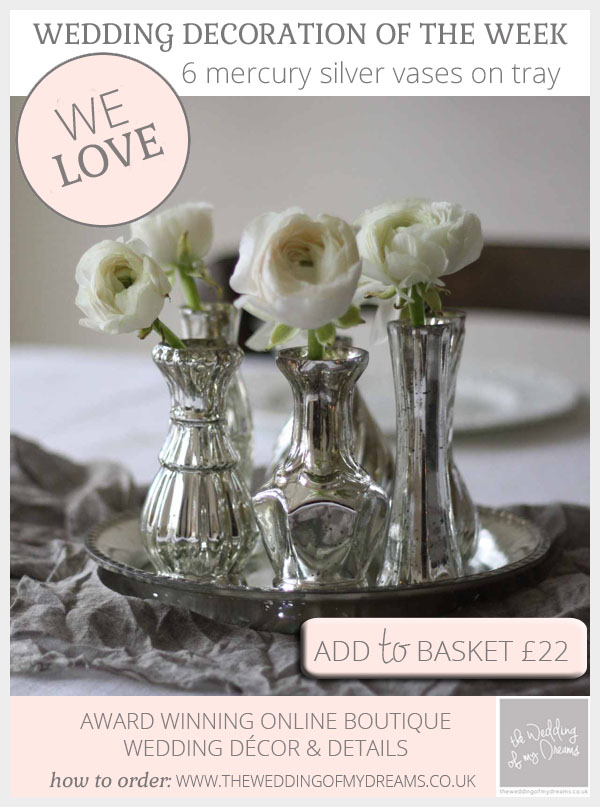 Mercury silver wedding centrepiece set of 6 vases on silver tray available from @theweddingomd