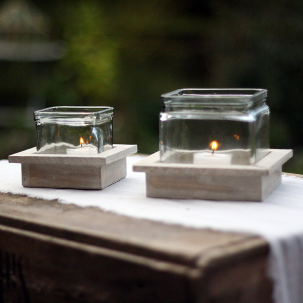 Rustic candle holders on wooden trays available from @theweddingomd