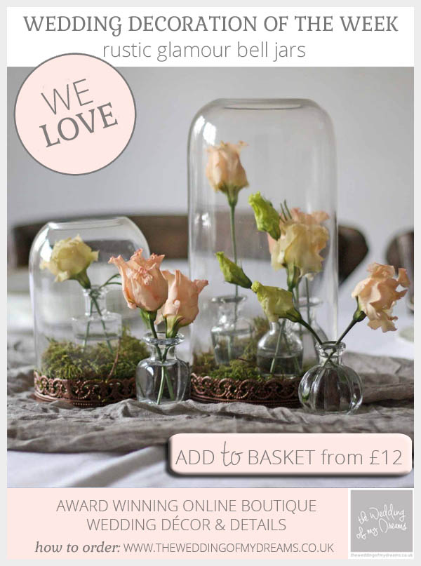 Rustic glamour bell jars for weddings available from @theweddingomd