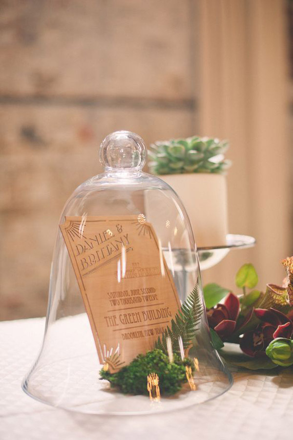 bell jars for weddings - use them to hold your menus or table numbers