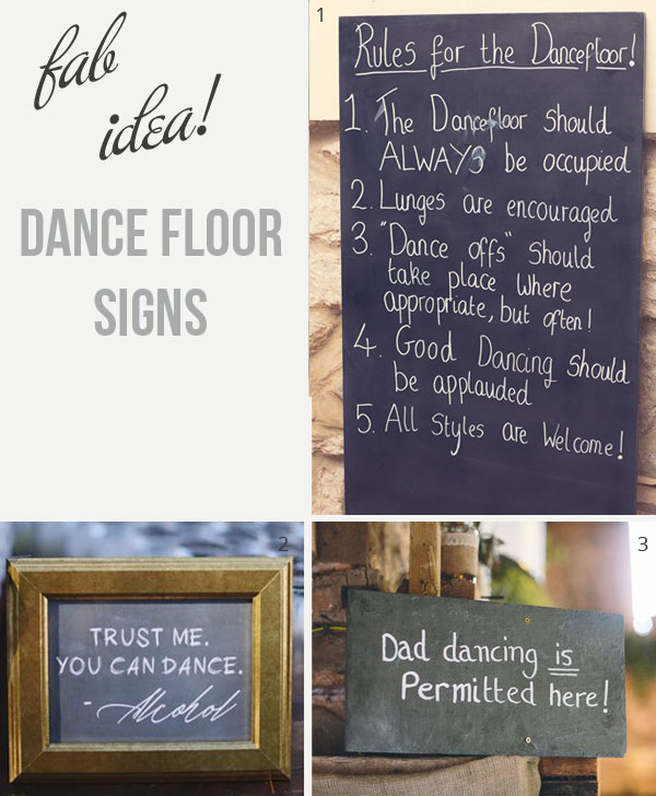dance floor signs for weddings