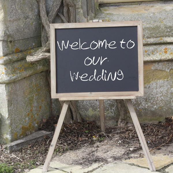 large chalkboard easel for wedding welcome signs available from @theweddingomd