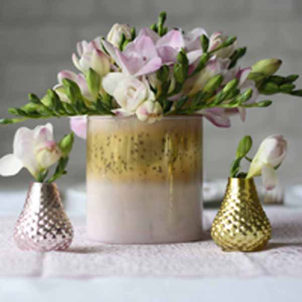 Blush pink and gold vases available from @theweddingomd The Wedding of my Dreams