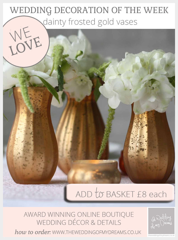 Dainty frosted gold vases for weddings available from @theweddingomd
