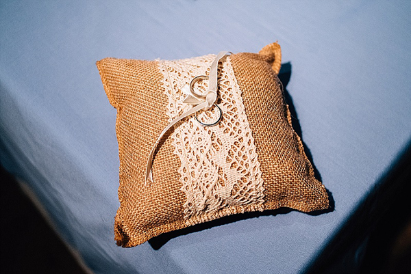 Hessian and lace rustic country wedding rung cushion