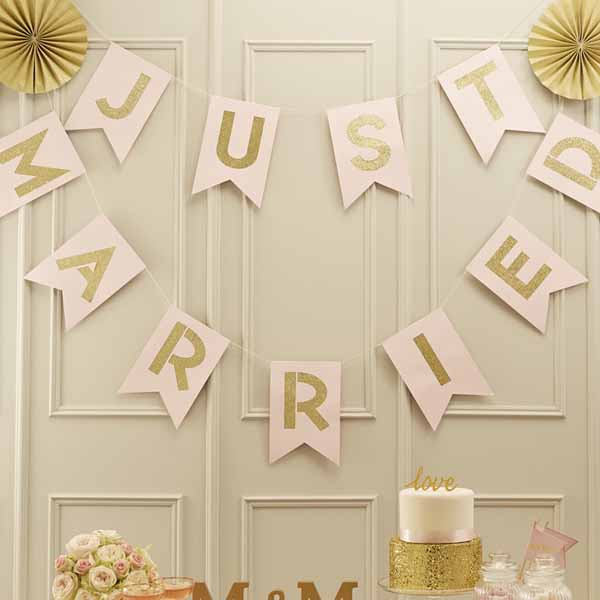 Pink and gold JUST MARRIED bunting available from @theweddingomd The Wedding of my Dreams