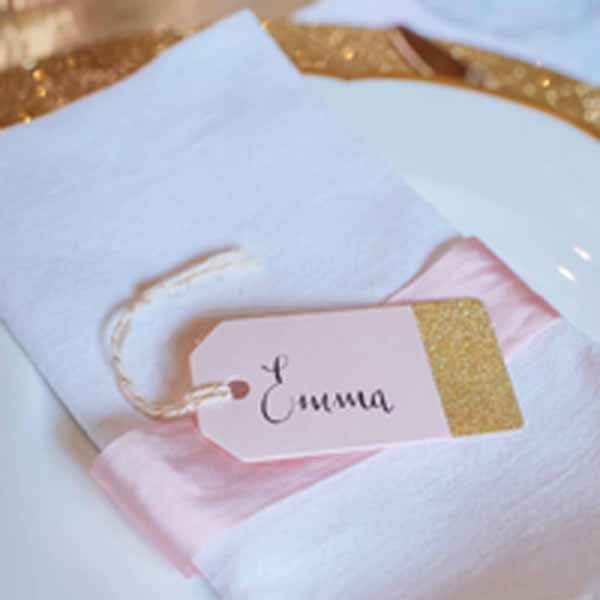 Pink and gold place cards available from @theweddingomd The Wedding of my Dreams