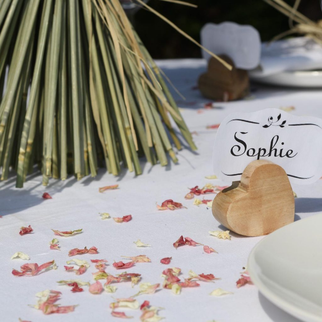 Use blush pink natural confetti petals to cover tables - available from The Wedding of my Dreams @theweddingomd