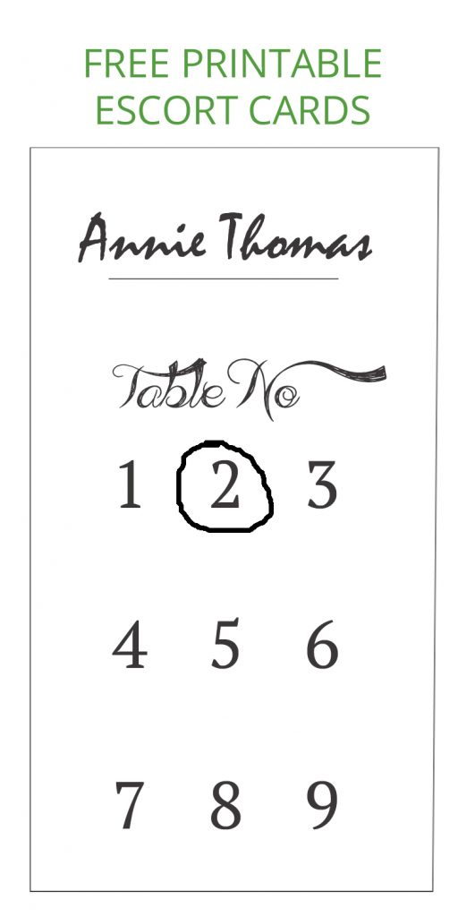 escort card free printable (1 - 9)