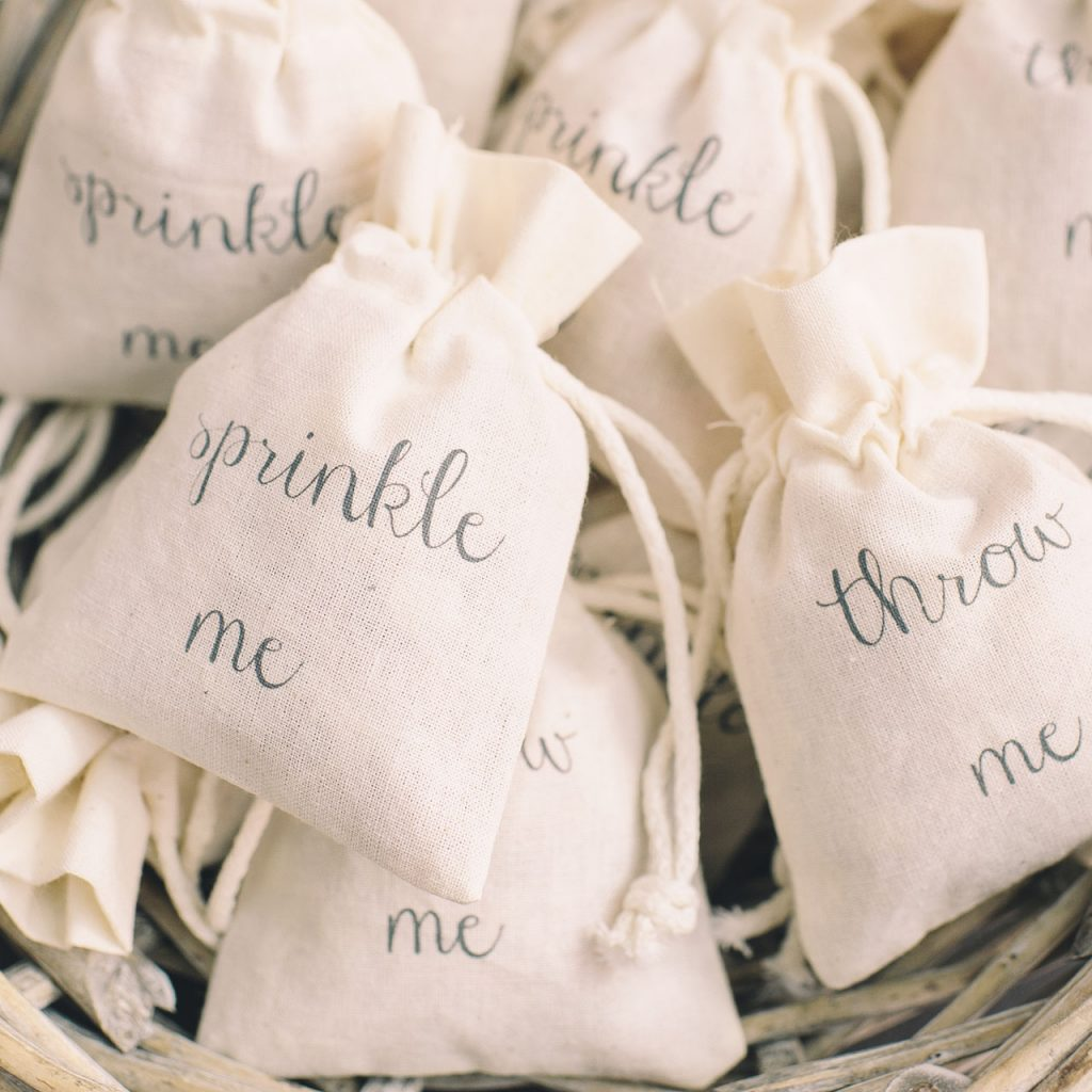Sprinkle Me / Throw Me petal confetti bags - available from The Wedding of my Dreams @theweddingomd