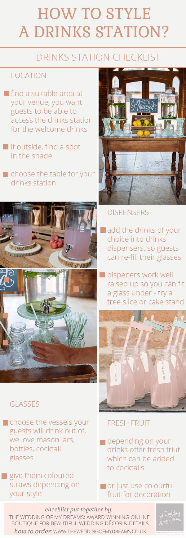 what do I need for a drinks station checklist - how to style a drinks station