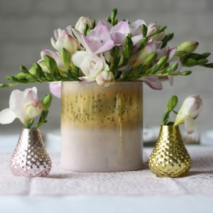 Pink and gold vases for wedding centrepiece available from @theweddingomd