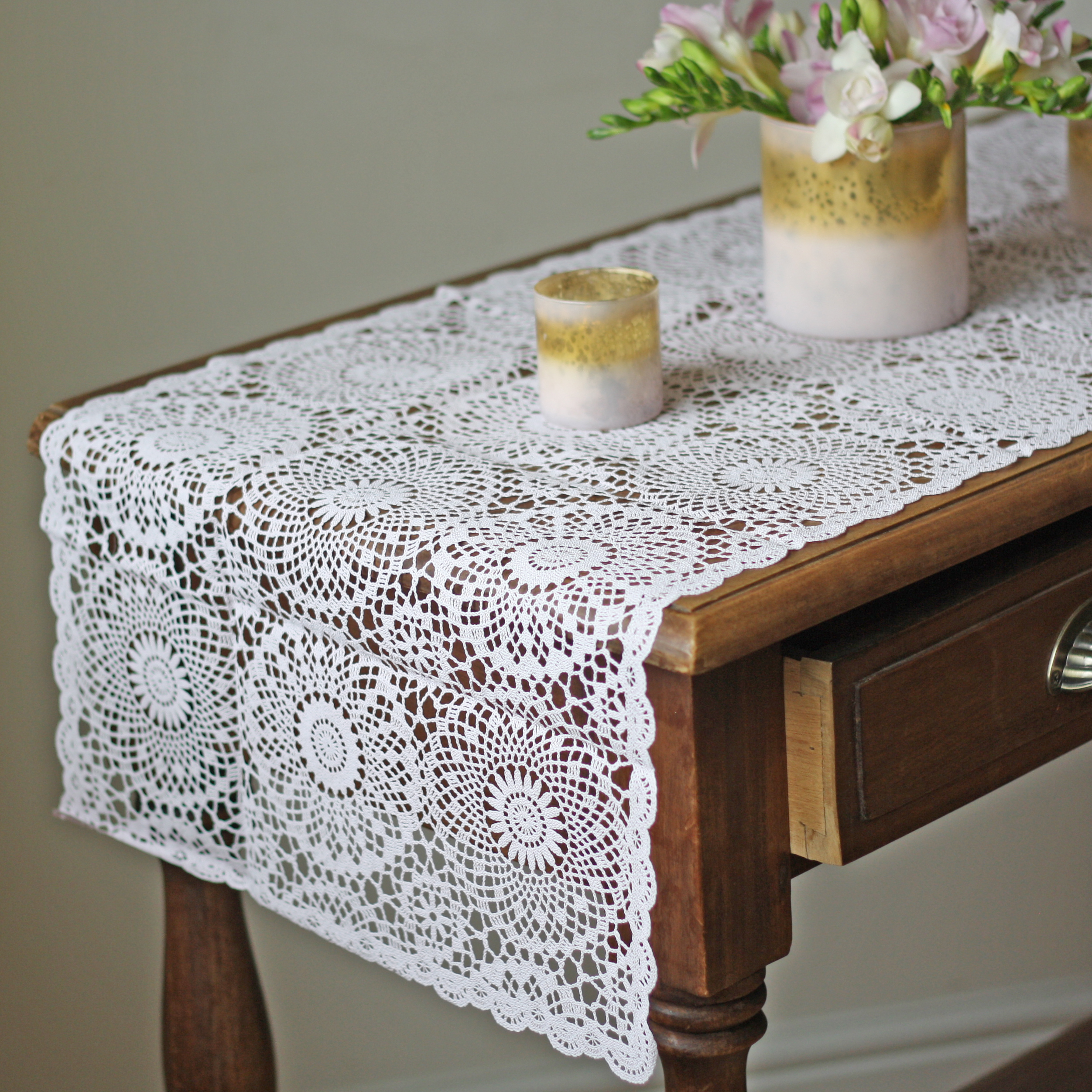 Blush Pink Table Runner Lace