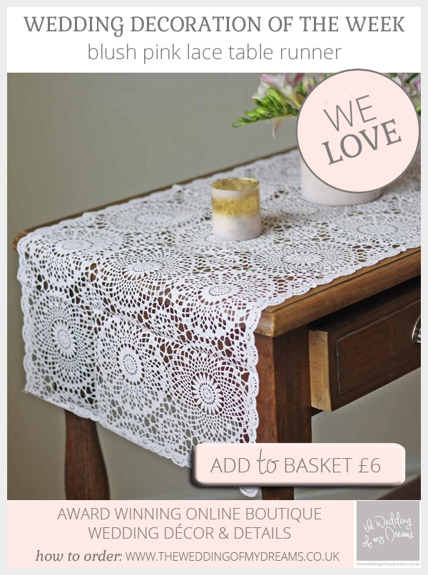 Blush pink lace table runner available from @theweddingomd