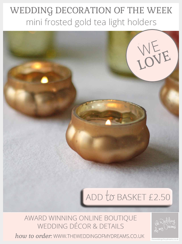Mini frosted gold tea light holders available from @theweddingomd