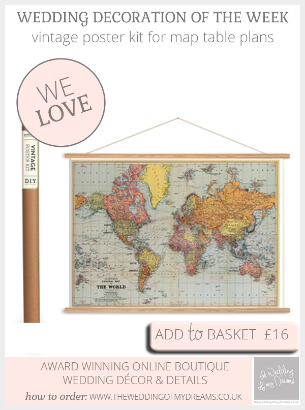 Vintage poster kit for haning map table plans - available from @theweddingomd