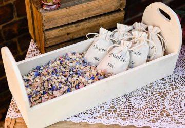 Biodegradable wedding confetti in basket trug