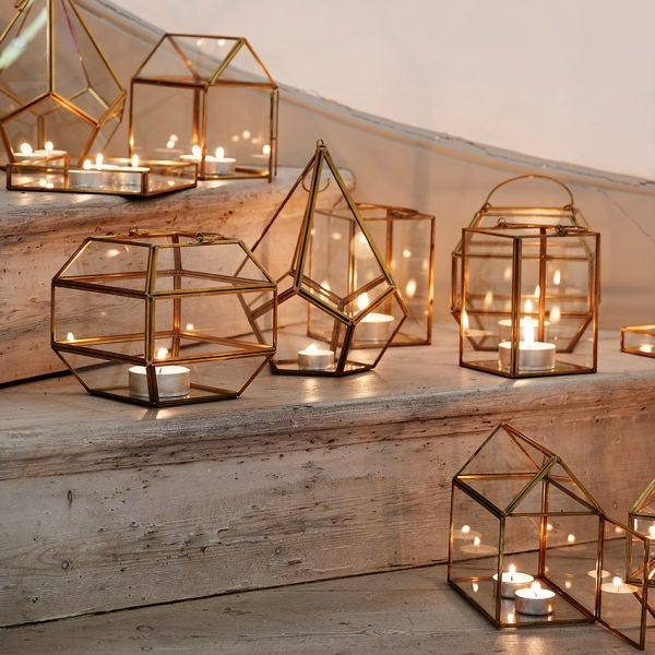 copper geometric tea lights holders