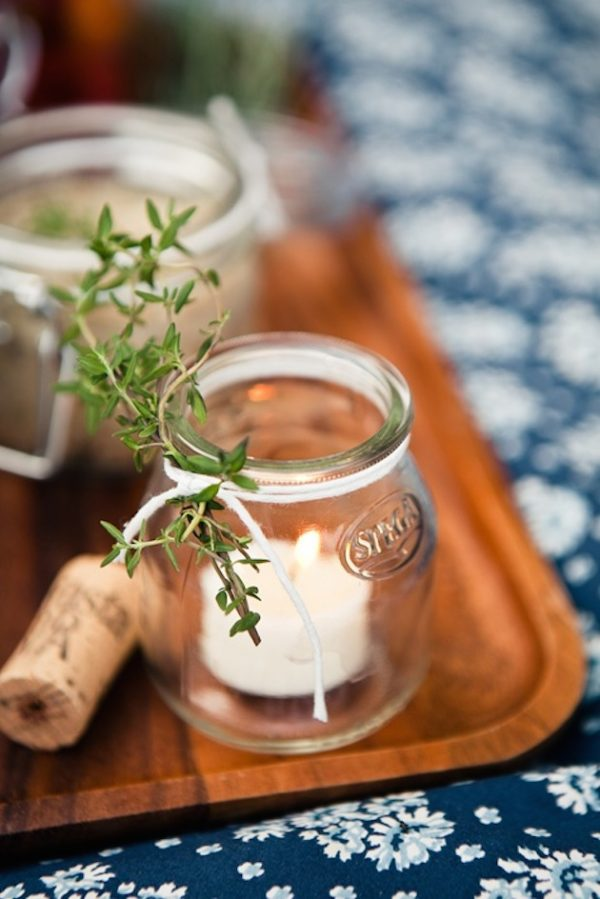 glass tea light holders with herbs attached with twine