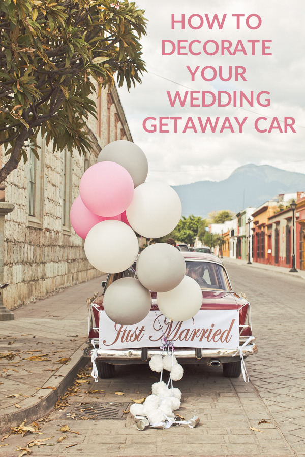 how to decorate your wedding getaway car ideas
