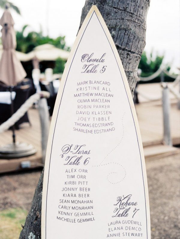 seaside summer wedding table plan