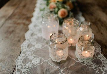 jam jar tea light holders covered in lace