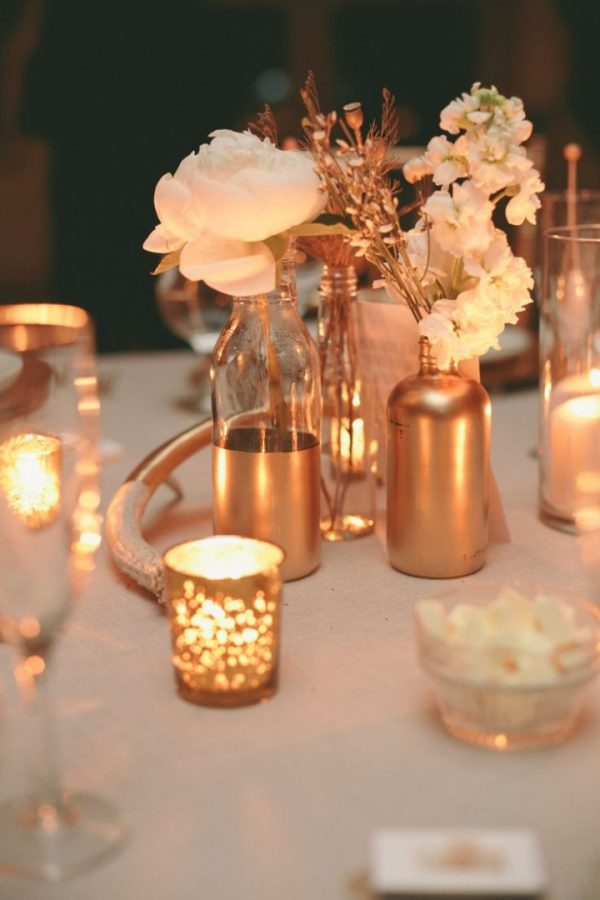 gold tea lights wedding - centrepiece ideas