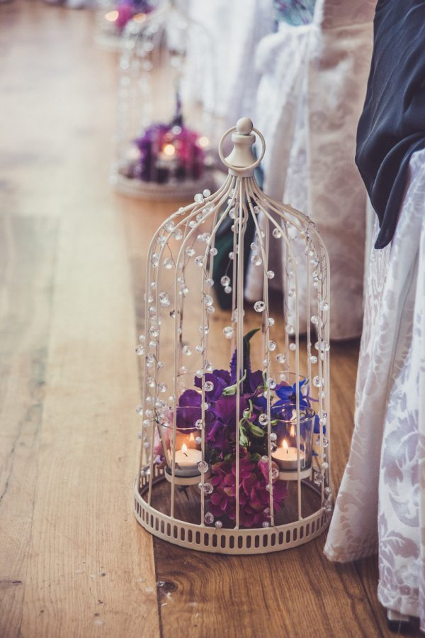 tea lights in antique birdcage