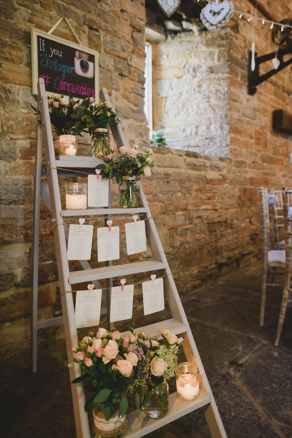 summer wedding table plans wooden ladders www.theweddingofmydreams.co.uk