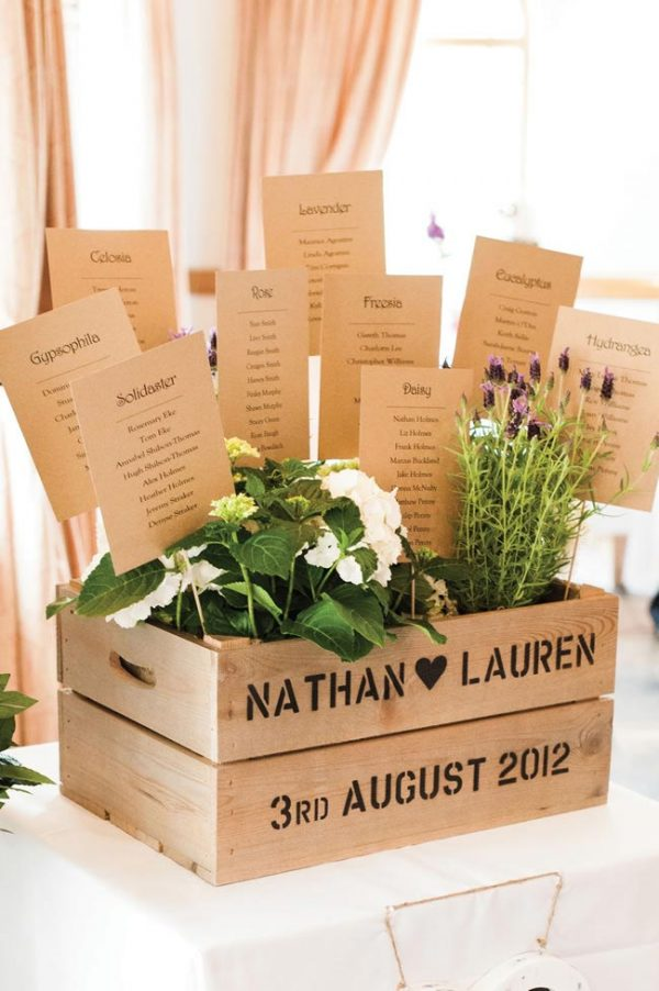 wooden crate summer wedding table plan