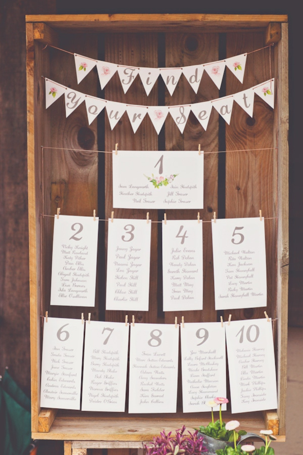 bunting summer wedding table plan