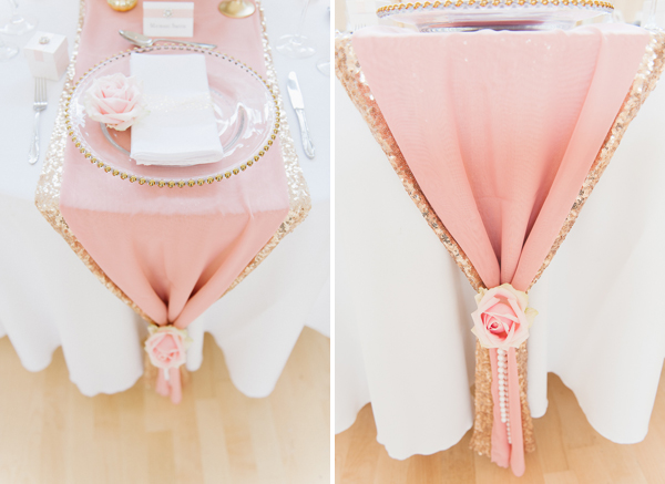 Pink and gold wedding table runners