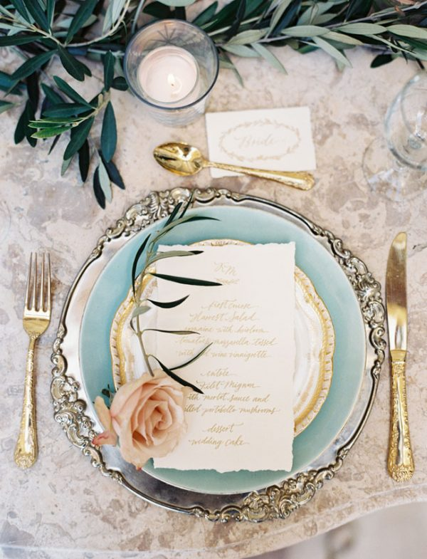 gold wedding decorations place settings chicvintagebrides.com - carolinetran.net