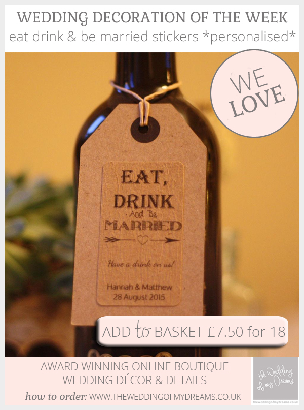 Eat drink and be married stickers for weddings personalised wedding favour stickers