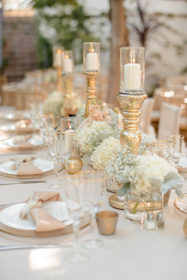 gold wedding decorations candle holders stylemepretty.com - ericaschneiderphotography.com
