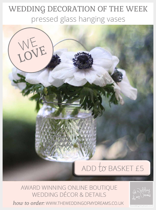 Pressed glass hanging vase available from @theweddingomd