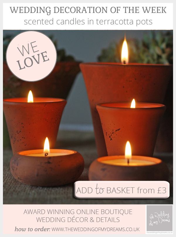 Scented candles in terracotta pots for weddings available from @theweddingomd
