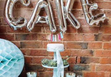 Silver cake balloons