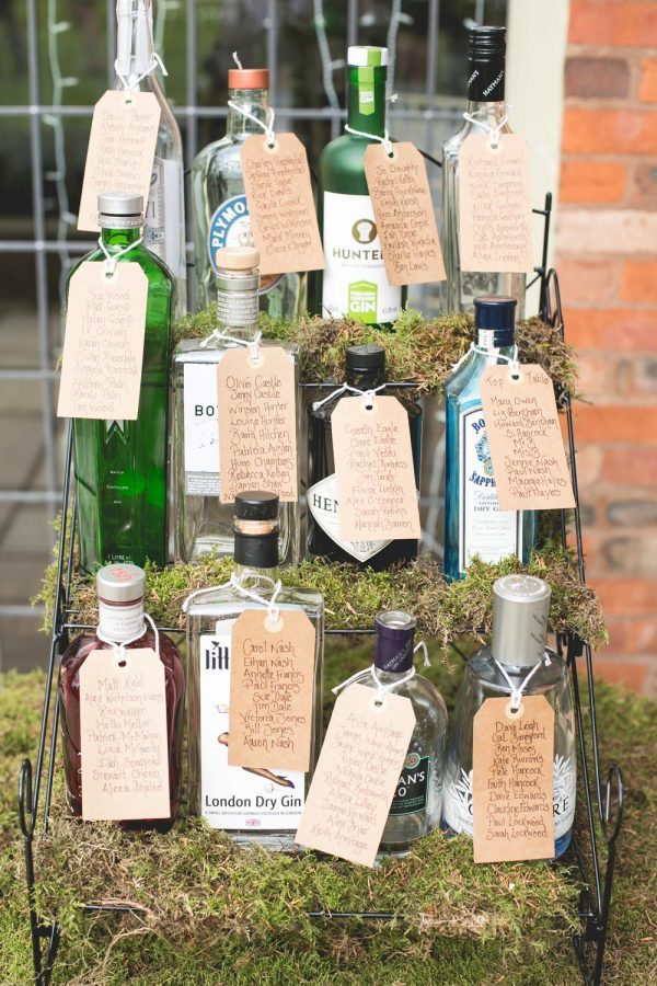 gin bottles as vases hitched.co.uk - mrandmrsw.com