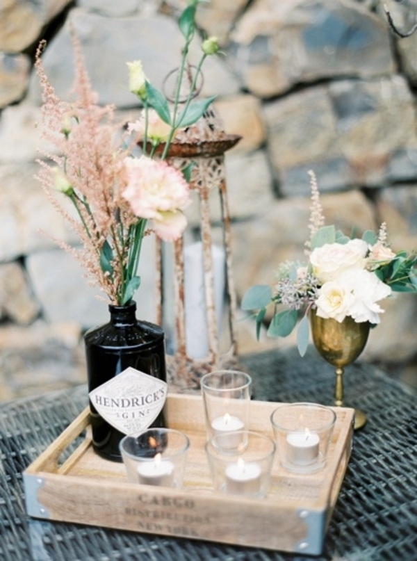 gin bottles as vases available from @theweddingomd peachesandmint.com