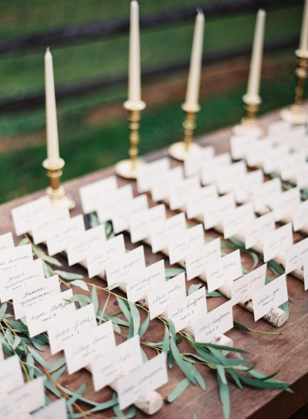 cork wedding place cards stylemepretty.com - michaelandcarina.com