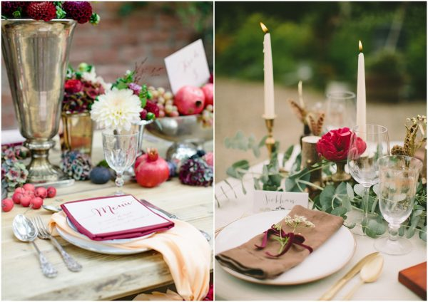 place setting ideas for autumn weddings