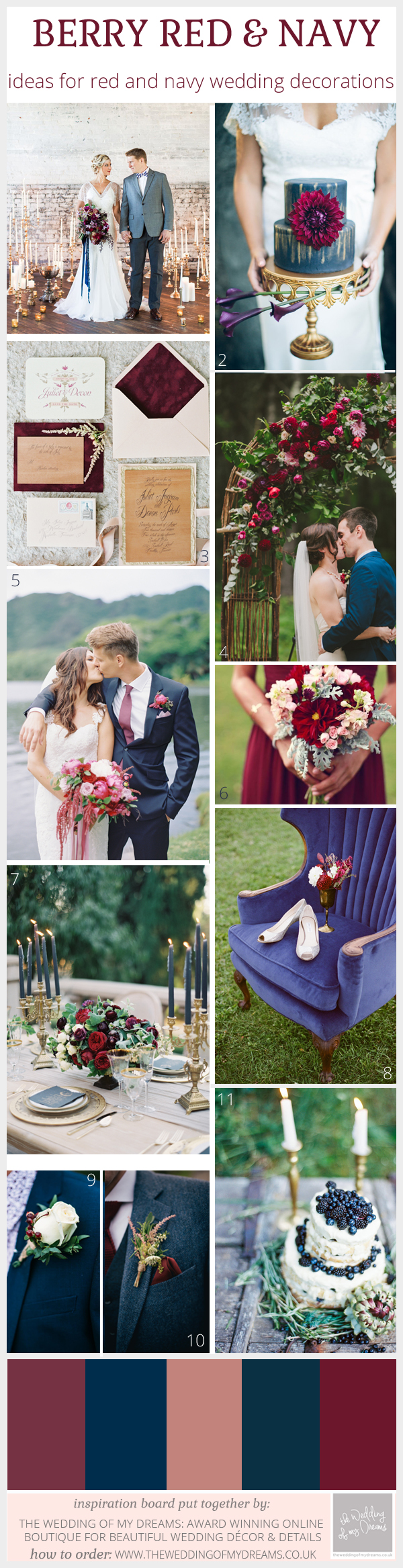 Berry red and navy wedding decorations and ideas