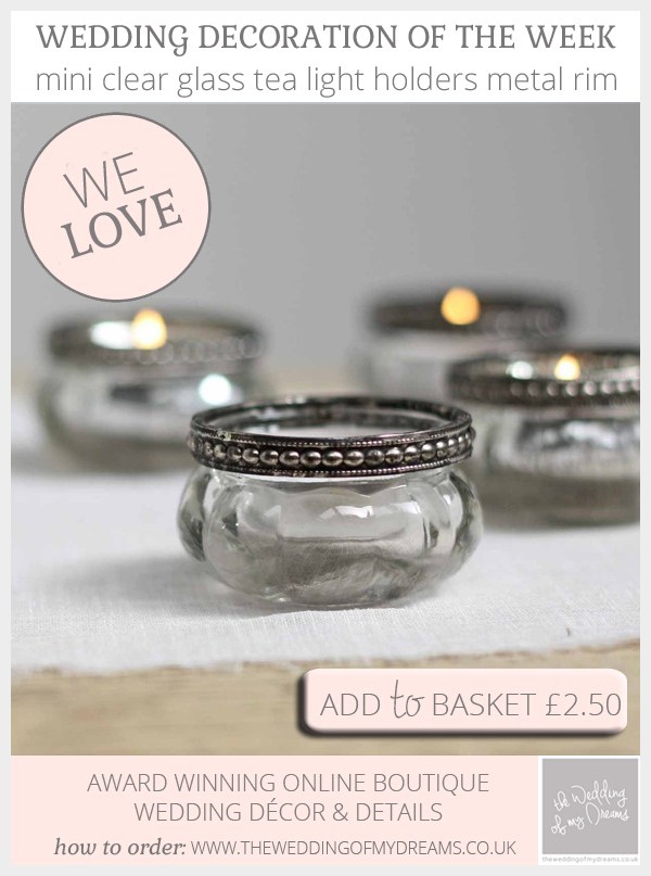 Clear glass tea light holders with metal rims available from @theweddingomd