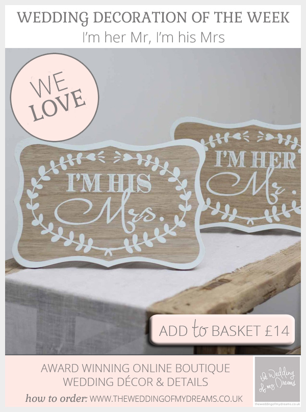 I'm her Mr I'm his Mrs wedding signs available from @theweddingomd